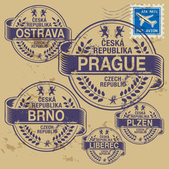 Grunge rubber stamp set with names of Czech Republic cities