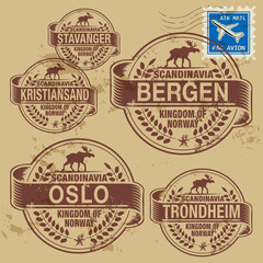 Grunge rubber stamp set with names of Norway cities