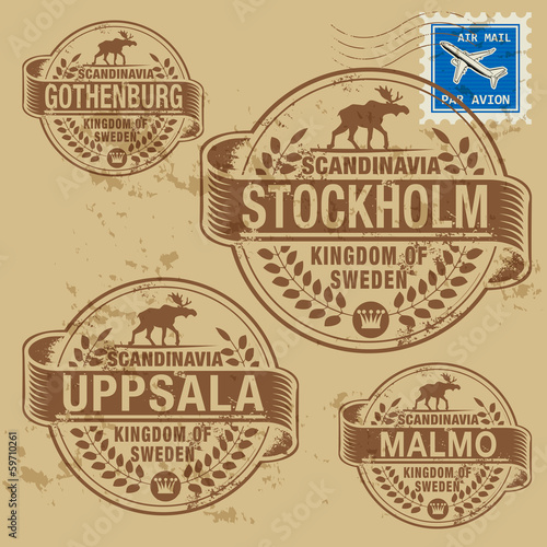 Grunge rubber stamp set with names of Sweden cities