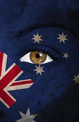 australia flag painted over female face