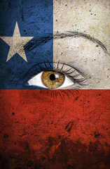 Chile flag painted over female face
