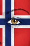norway flag painted over female face