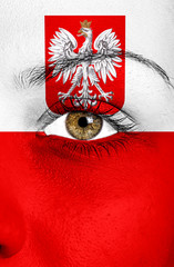 poland flag painted on face