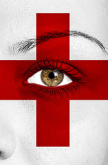 England flag painted over woman face