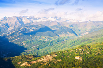 Summer view of Pyrenees mountains