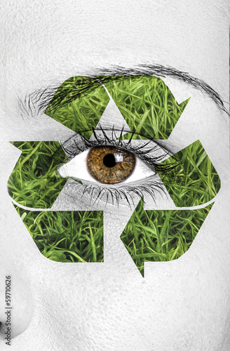 recycle sign painted on face, eco concept