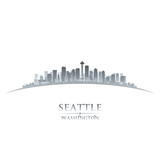 Seattle Washington city skyline silhouette white background