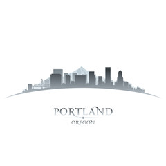 Portland Oregon city skyline silhouette white background