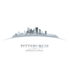 Pittsburgh Pennsylvania city skyline silhouette white background