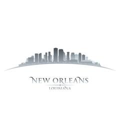 New Orleans Louisiana city skyline silhouette white background