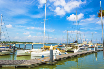Yachts and boats in Danga Bay marina of Johor, Malaysia