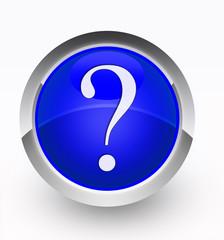Knopf blau Fragezeichen