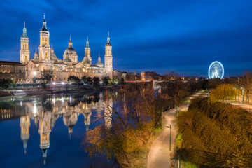 View of Basilica Pillar in Zaragoza , Spain.