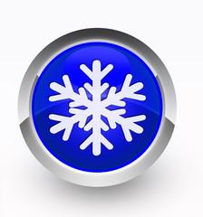 Knopf blau Schneeflocke