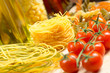 close-up of cherry tomatoes and pasta