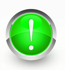 Knopf grün Ausrufezeichen