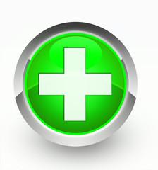 Knopf grün Plus