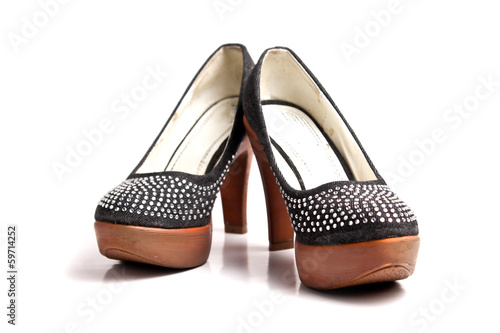 black with diamond high heel isolated on white