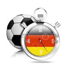 Flag germany on stop watch with soccer ball