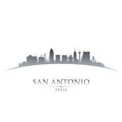 San Antonio Texas city skyline silhouette white background