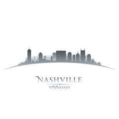 Nashville Tennessee city skyline silhouette white background