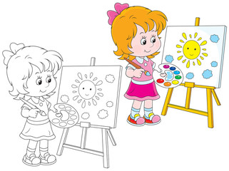 Girl drawing a picture with a smiling sun