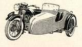 Motorcycle with sidecar ca. 1930