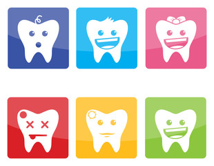 Funny colorful  icons of teeth for pediatric dentistry