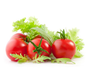 Tomatoes end Lettuce isolated on white background