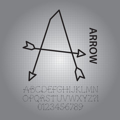 Silhouette Arrow Alphabet and Numbers Vector