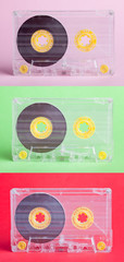 three audio cassettes on difrent backgrounds - collage