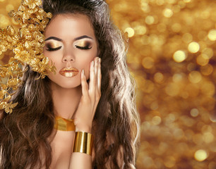 Fashion Beauty Girl Portrait Isolated on golden Christmas glitte