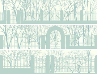 Horizontal banners of park with fence.