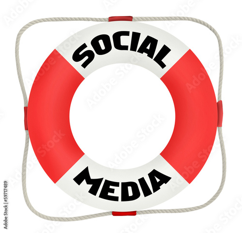 social media concept, life saver, isolated on white background