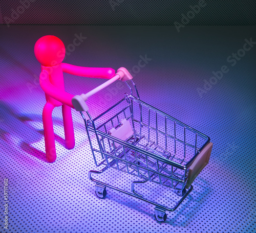 Rubber Figures with a shopping cart