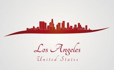 Los Angeles skyline in red