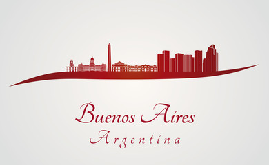 Buenos Aires skyline in red
