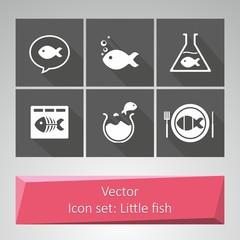 Icon set: Little fish