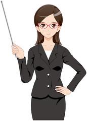 女性 スーツ 指示棒 眼鏡