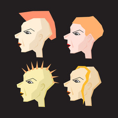 Women Punk Head Illustration