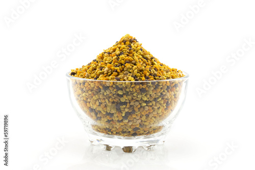white isolated bowl with pollen grains