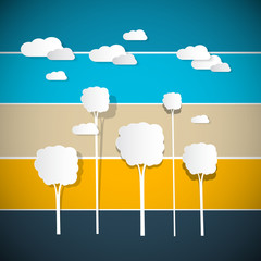 Abstract Vector Trees, Clouds on Retro Background
