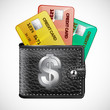 Leather wallet  with credit cards on  white background. Vector