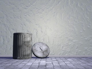 Old bin in the street - 3D render