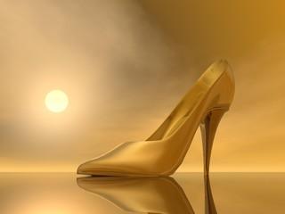 Golden high heel - 3D render