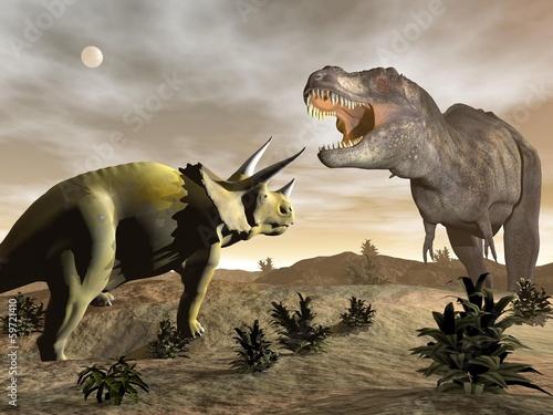 Tyrannosaurus roaring at triceratops - 3D render - 59721410