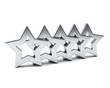 Five silver rating stars, concept of success and best quality 3d