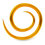 Abstract gold swirl icon, 3d