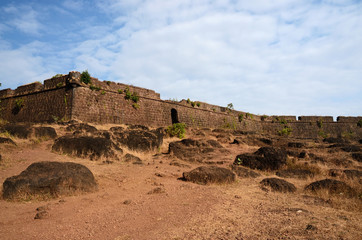 Ruins of Chapora fort,located in Bardez,Goa,India