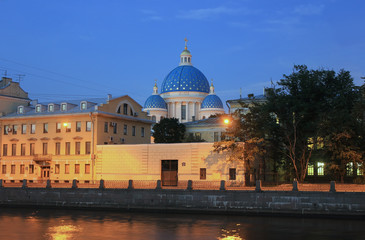 Panorama of night St. Petersburg, Russia